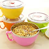 enclosed fryer - 1 Pcs 900Ml Noodles Bowl Lid Enclosed Handle Large Stainless Steel Cutlery Japan Style Rice Soup Cup 16*8.4cm Cooking Tools