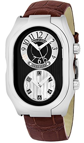 Philip Stein Men 'Signature' Black Dial Brown Leather Strap Dual Time Swiss Quartz Watch 12-BGR-ABR