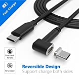 Magnetic USB C Cable 4.3A 87W Fast Charge USB C to USB C Braided Nylon Cord Compatible with MacBook Pro, Samsung S8, Dell XPS, USB C Devices. (6.6FT-Black)