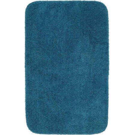 Mainstays Solid Turquoise Nylon Basic Bath Rug, 1'11