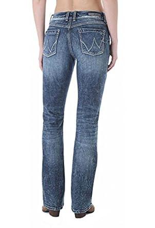 feae9fa2 Wrangler Women's Premium Patch Mae Mid-Rise Jeans, Indigo Stonewash (00x34)