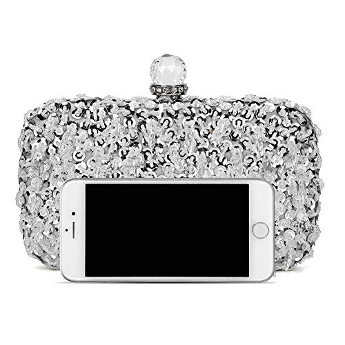 UBORSE Women Wedding Clutch Rhinestone Bling Sequin Evening Bags Vintage Crystal Beaded Cocktail Party Party Purse Silver by UBORSE (Image #3)
