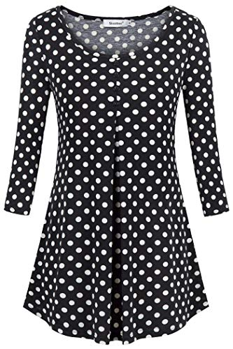 Sixother 3/4 Length Polka Dots Tops for Women,Compliment Multi Striped Swing High Low Hemline Tunic Blouse XX-Large Loose Fit Casual Hoodies Sweatshirt Sweater Boutique Clothes for All Season