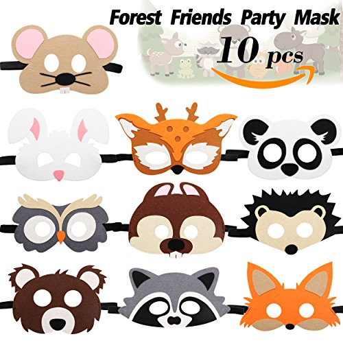 CiyvoLyeen Forest-Friends Animals Felt Masks 10 pcs Woodland Creatures Animal Cosplay Camp Themed Party Favors Supplies for Kids Boys or Girls ()
