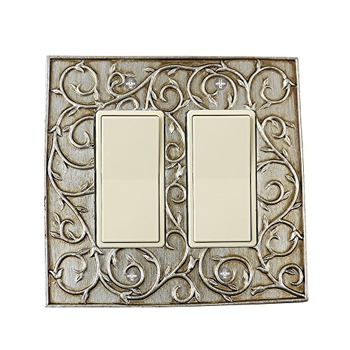 (Meriville French Scroll 2 Rocker Wallplate, Double Switch Electrical Cover Plate, Aged Silver)