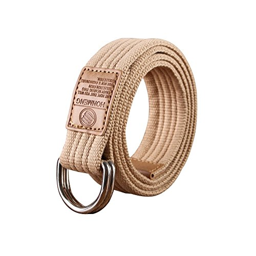 Printed Canvas Belt (Sitong Unisex casual candy color double loop buckle canvas belt(Light)