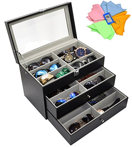 ADTL 3 layer 18 Slots Eyeglass Sunglass Storage Box Display - Sunglass Holder Case