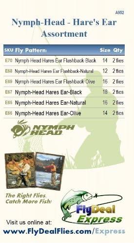 Nymph-Head Assortment 12 Flies Hares Ear Fly Fishing Flies