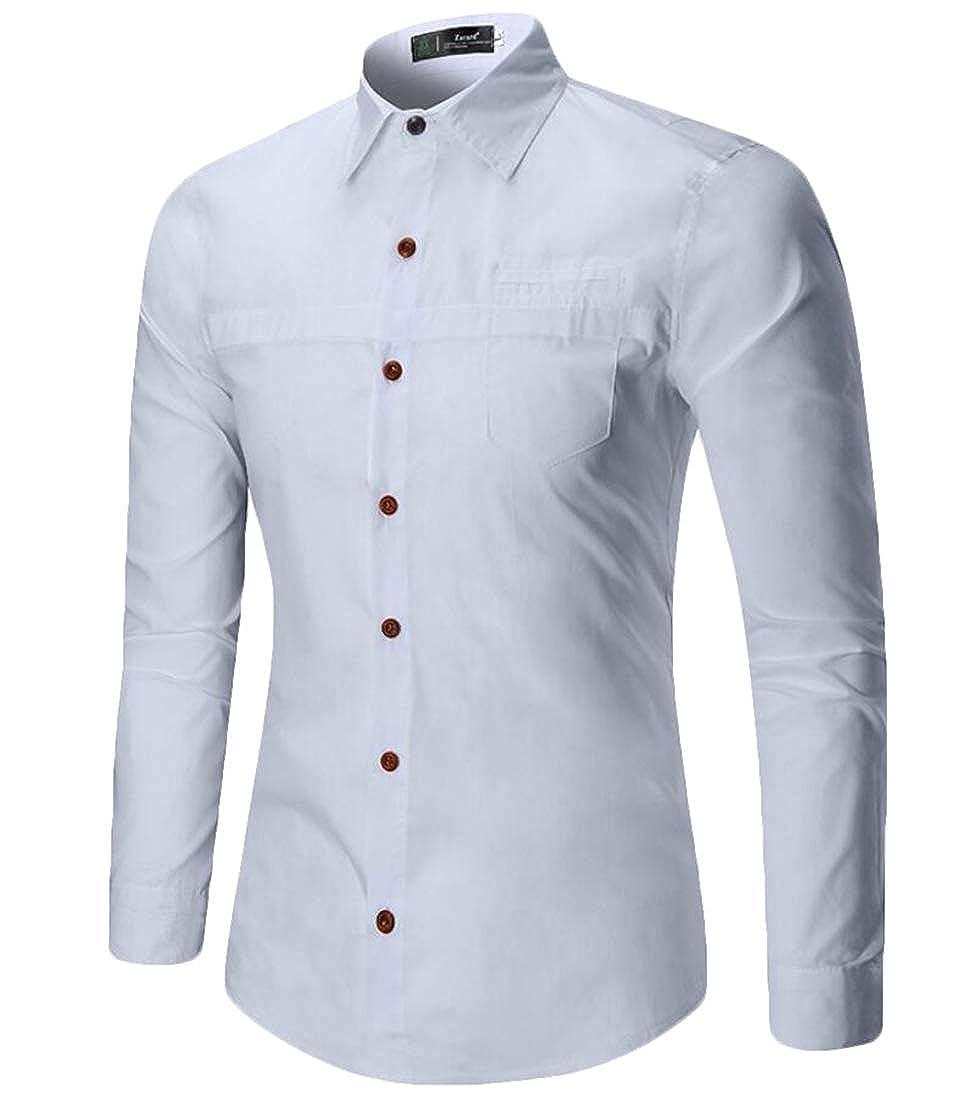 Mens Casual Shirts Button Down Long Sleeve Regular Fit Shirt Tops