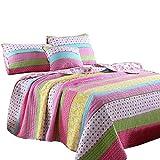 Best Comforter Set 3 Pieces Bedding Set Pink Dot Striped Floral Bedspread Quilt