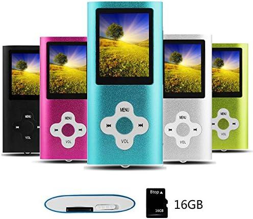 Btopllc Reproductor de MP3 Reproductor de MP4 Reproductor de música Digital Tarjeta de Memoria Interna de 16GB Reproductor de música portátil/Compacto MP3/MP4/Reproductor de Video - Azul y Blanco