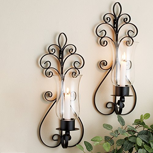 (Set of Two Decorative Modern Black Metal Wall Sconce and Crackle Finished Hurricane Candle Holders, Wall Lighting - Perfect for a Living Room Dining Room or Entry Way (Brown))