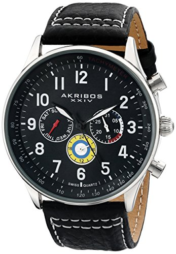 Akribos XXIV Men's AK751 Swiss Quartz Movement Watch with Matte Dial and Multicolored Sub dials with Stitching Leather Calfskin Strap (Silver/Black)