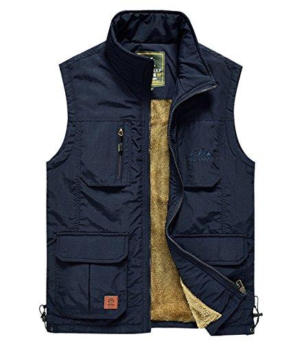 Deerun Men's Warm Fleece Lined Vest Mountain Fishing Traveling Camping Lightweight Jacket Outerwear Darkblue ()