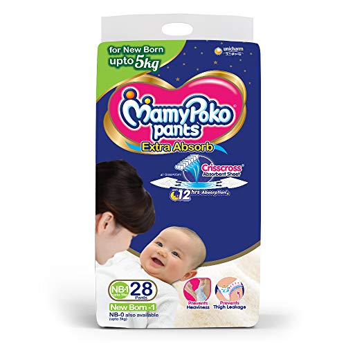 MamyPoko Pants Extra Absorb Diapers New Born XS Size 28 Pieces