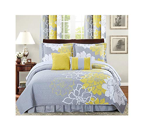 All American Collection New 6 Piece Printed Reversible Bedspread Set with Dust Ruffle (Yellow/Grey, King Size)
