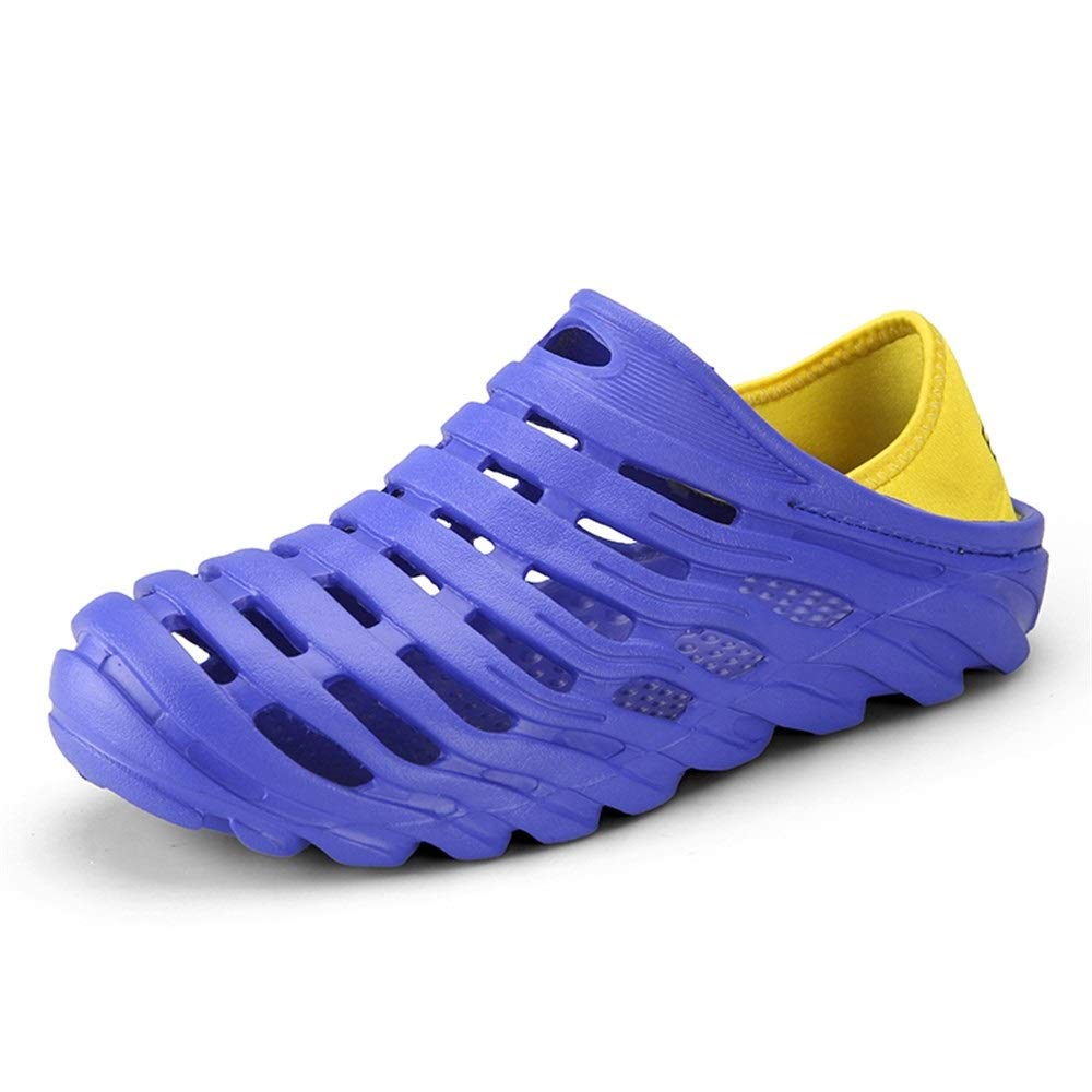 Breathable Slippers Outdoor Beach Shower Slip On Light-Weight Round Head Relax Walking shoes Clogs Sandals Compatible Men Anti-Slip Water shoes (color   blueee, Size   9 UK)