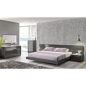 Amazon.com: J&M Furniture Braga Modern Grey Lacquer Bedroom Set ...