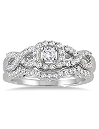 Dream Jewels Women's 3/4 Carat Diamond Infinity Bridal Set in 14K White Gold Plated Alloy