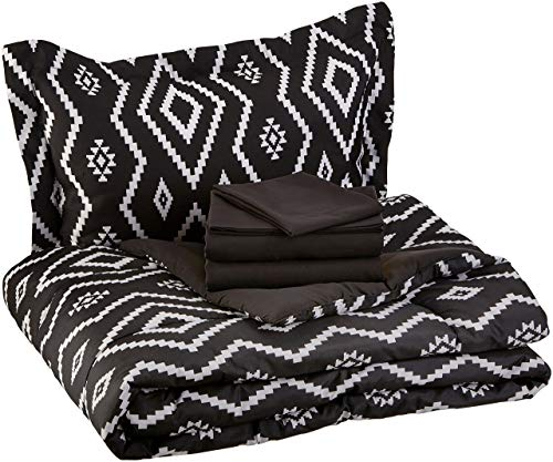 AmazonBasics 5-Piece Bed-In-A-Bag - Twin/Twin Extra-Long, Black Aztec (Renewed)