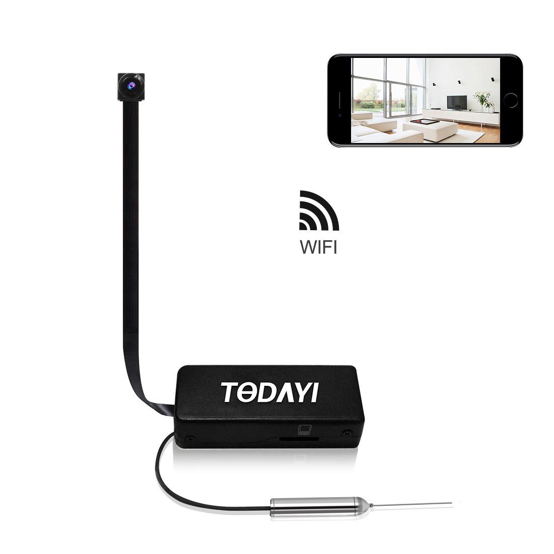 Spy Camera, TODAYI Mini Hidden Camera 720P Wireless WiFi Nanny Cam Indoor/Outdoor Portable Home Security Camera Motion Detection Loop Recording