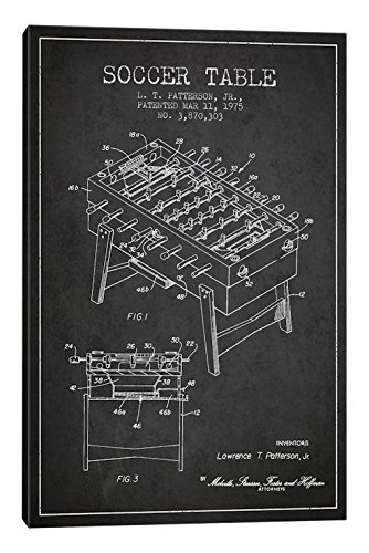 iCanvasART Soccer Table Charcoal Patent Blueprint Canvas Print, 40'' x 0.75'' x 26'' by iCanvasART