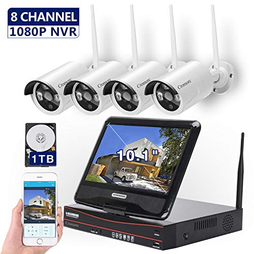 [8CH, Expandable] All in one with 10.1 inches Monitor Wireless Security Camera System, Home Business CCTV Surveillance 1080P NVR Kit, 4pcs 960P Indoor Outdoor Night Vision IP Camera, 1TB Hard Drive (The Best Home Surveillance Systems)