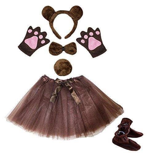 Petitebella Brown Bear Headband Bowtie Gloves Tutu Shoes 6pc Girl Costume Set (One Size) (Kids Bear Costume)