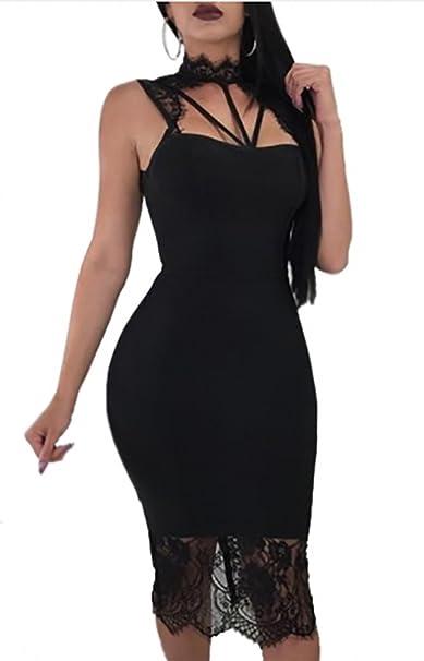389079f95589 Abito girocollo spalline pizzo tubino nero ricamo pizzo sottovestito  elegante incroci seno e spalle sexy  Amazon.it  Abbigliamento