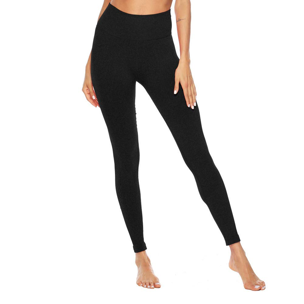 Women's Fitness Sport Capris Solid Line High Waist Workout Ruche Booty Thights Yoga Athletic Leggings (XL, Black) by FDSD Women Pants (Image #6)