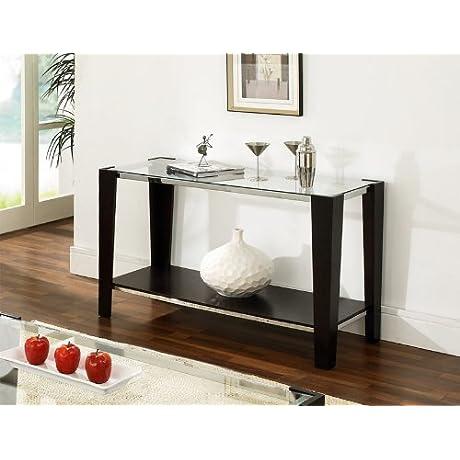 Newman Sofa Table W Glass Top In Espresso