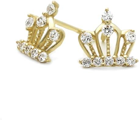 14k Yellow Gold Cubic Zirconia Crown Screwback Earring Studs
