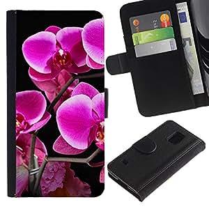 KLONGSHOP // Tirón de la caja Cartera de cuero con ranuras para tarjetas - Purple Lily Flores - Samsung Galaxy S5 V SM-G900 //