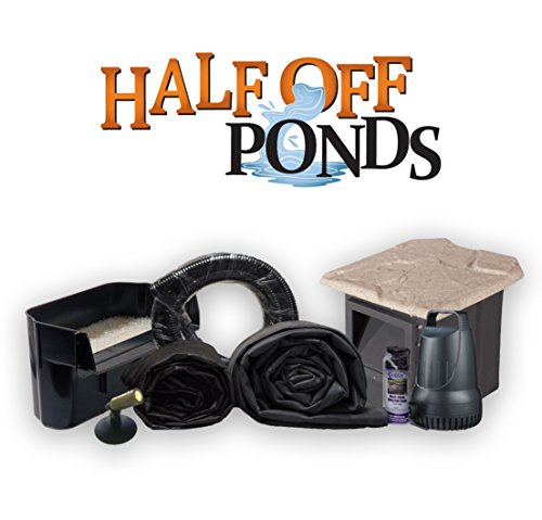 Half Off Ponds XSH0 - Compact Hybrid Pond Kit  w/ 15' x 20' LifeGaurd Pond Liner®, 2,100 GPH Anjon Pump, 16