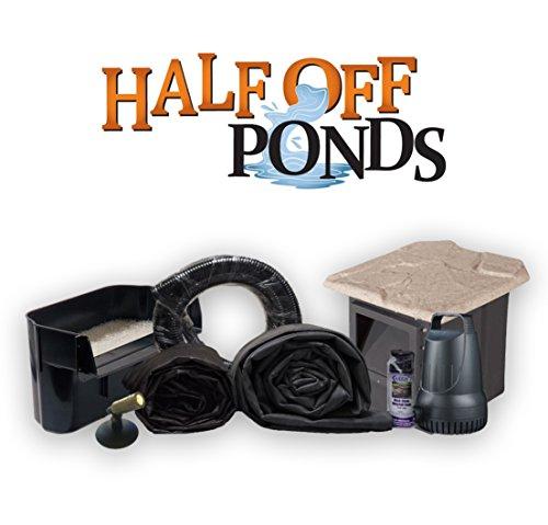 Half Off Ponds XSH2 - Compact Hybrid Pond Kit w/15' x 15' LifeGuard Pond Liner, 2,100 GPH Anjon Pump, 16