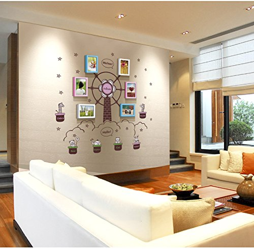 TIANTA- Children Room Real Wood Frame Wall Simple Modern Photo Wall Stickers Ferris Wheel Creative 6 Frame Combination Photo Wall Wild Little Wall adorn ( Color : #1 )