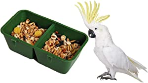2-in-1 Double Trough Bird Seed Food Feeding Dish Water Feeder Bowl for Parrot Macaw African Greys Budgies Parakeet Cockatiel Conure Canary Finch Cage
