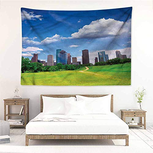 (Sunnyhome DIY Tapestry,USA Houston Texas Modern Skyscraper,Home Decorations for Bedroom Dorm)