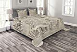 Lunarable Old Newspaper Bedspread Set King Size, Nostalgic Aged Pages with Antique Advertising Fashion Magazines Retro Print, Decorative Quilted 3 Piece Coverlet Set with 2 Pillow Shams, Black Tan