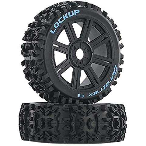 Duratrax Lockup 1:8 Scale RC Buggy Tires with Foam Inserts, C2 Soft Compound, Mounted on Black Wheels (Set of - 1/8 Buggy