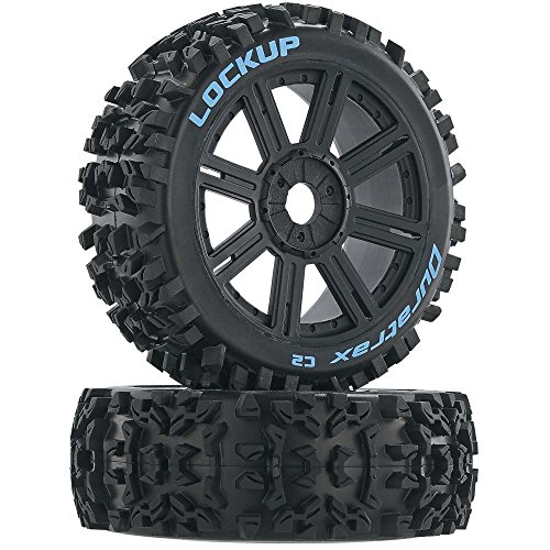 Duratrax Lockup 1:8 Scale RC Buggy Tires with Foam Inserts, C2 Soft Compound, Mounted on Black Wheels (Set of 2)