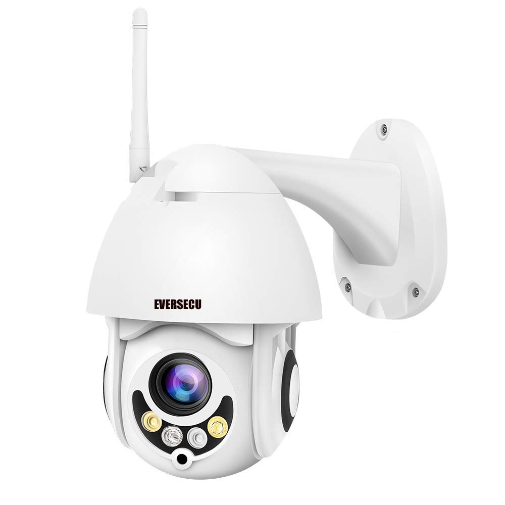PTZ WiFi IP Camera 1080P HD H.265/H.264 Wireless Waterproof CCTV Security Dome Camera with 4mm F1.2 CS Lens 355° Pan/ 90° Tilt, IR-Cut Night Vision, Motion Detection, Two Way Audio by EVERSECU