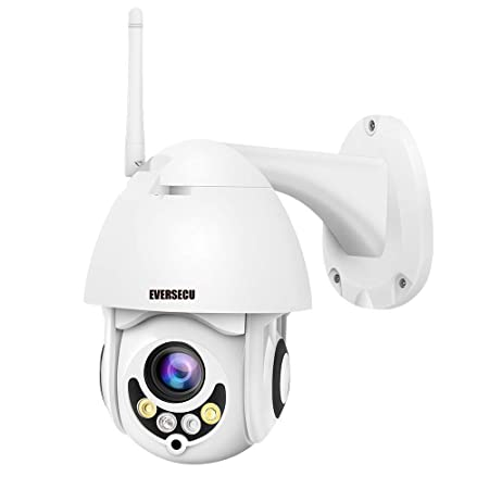 PTZ WiFi IP Camera 1080P HD H.265 H.264 Wireless Waterproof CCTV Security Dome Camera with 4mm F1.2 CS Lens 355 Pan 90 Tilt, IR-Cut Night Vision, Motion Detection, Two Way Audio