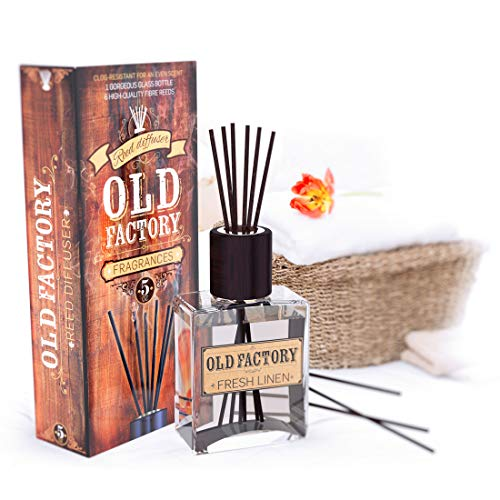 Reed Diffuser Set - Fresh Linen - Essential Oil Aromatherapy Scent Bottle and 6 Clog-Resistant Fiber Reeds - Premium Scented Diffusers for Oils - 5oz