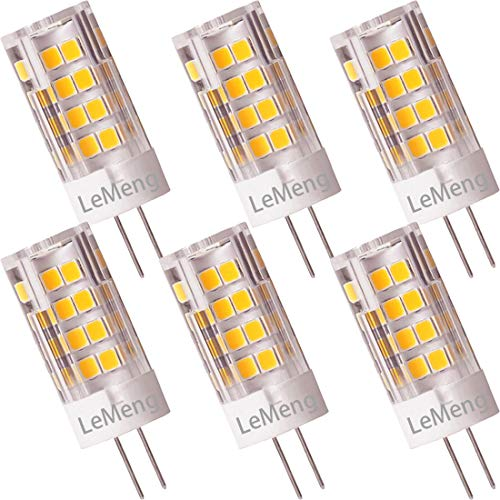 LeMeng G4 LED Bulb 3.5W 2700K Warm White bi-pin T3 JC Type 12VAC/DC 20-35W Halogen Equivalent Non-dimmable Corn Light for RV, Boats,Landscape Path Step, Ceiling Cabinet Lighting 6-Pack ()