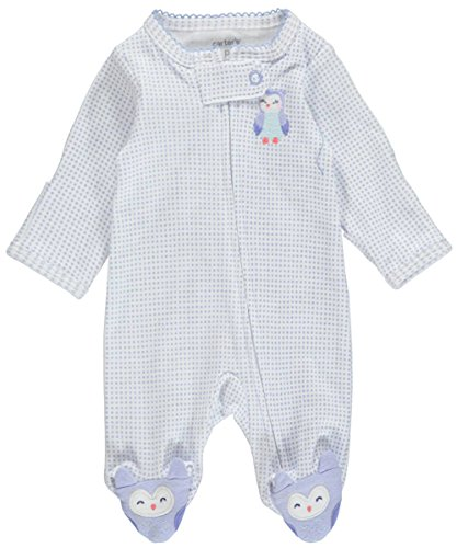 Carter's Baby Girls Happiest Owl Footed Coverall - White, 9 Months