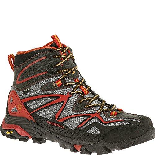 Picture of Merrell Men's Capra Mid Sport Gore-Tex Hiking Boot, Light Grey/Red, 8 M US