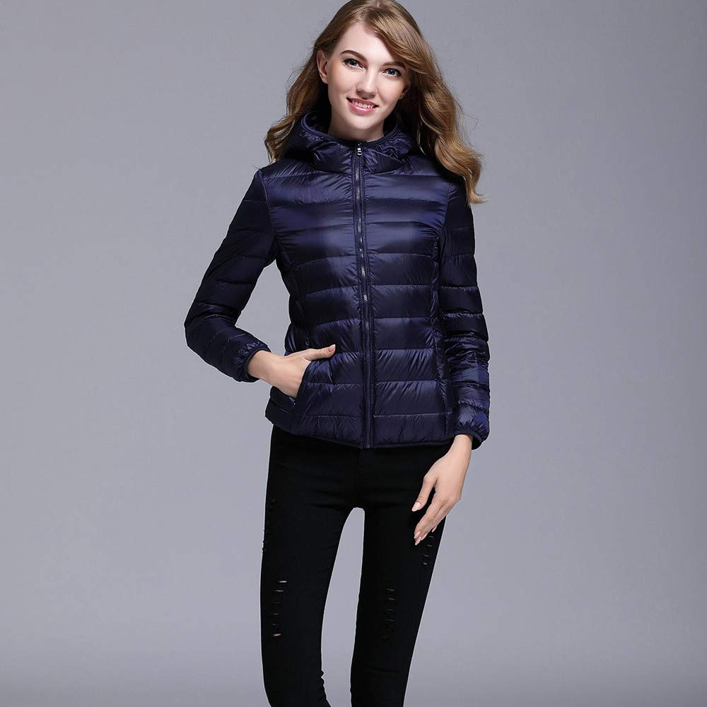 AOJIAN Women Jacket Long Sleeve Outwear Hooded Puffer Pocket Zipper Bright Color Slim Fit Solid Coat