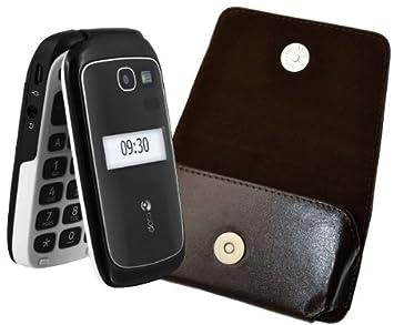 77b2c84a6bcc4 MTT ® origine pour Doro PhoneEasy 610 GSM Pochette Étui Horizontal en cuir  véritable avec Clip