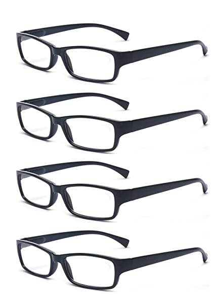121d0c6991d5 Amazon.com  Outray Men Or Women 4 Pack Spring Hinges Frame Rectangular  Reading Glasses 1.00  Clothing